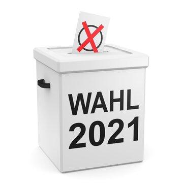 Wahl 2021 - Wahlurne und Stimmzettel