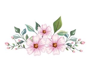 Fototapeta light pink flowers with leaves crown obraz