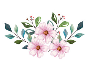 Fototapeta light pink flowers with leaves obraz