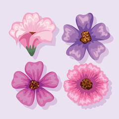 Fototapeta flowers icon set obraz
