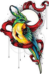 Fototapeta Ilustracja turkusowy ptak z żółtym brzuszkiem siedzący na czerwonej szarfie. Projekt tatuażu. obraz