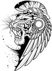 Ilustracja do kolorowania ryczący tygrys w pióropuszu i słuchawkach. Czarno biały kontur tygrysa do kolorowania.
