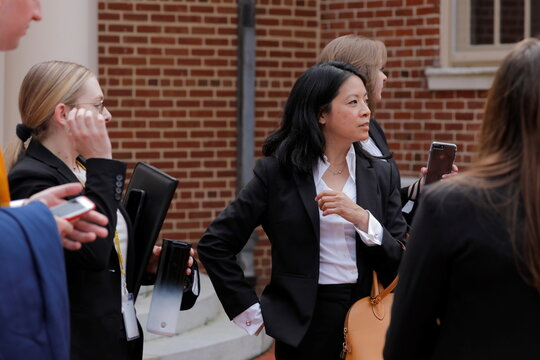Law clerks with the Delaware Department of Justice gather at the Delaware Supreme Court in Dover, Delaware