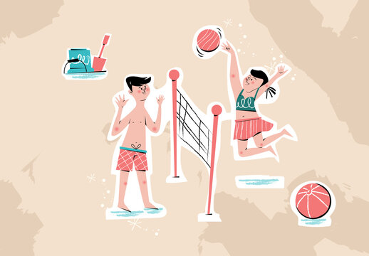 Illustration Spring Break Mid Century Design Beach Volleyball