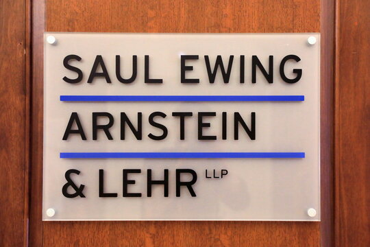 The logo of law firm Saul Ewing Arnstein & Lehr is seen at their legal offices in Philadelphia, Pennsylvania
