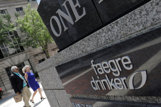 The logo of law firm Faegre Drinker Biddle & Reath is seen at their legal offices in Philadelphia, Pennsylvania