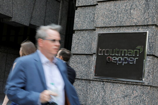 The logo of law firm Troutman Pepper is seen at their legal offices in Philadelphia, Pennsylvania