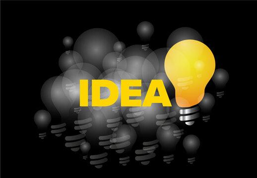 IDea Concept Illustration with Light Bulb on Dark Background