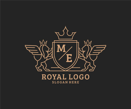 Initial ME Letter Lion Royal Luxury Heraldic,Crest Logo template in vector art for Restaurant, Royalty, Boutique, Cafe, Hotel, Heraldic, Jewelry, Fashion and other vector illustration.