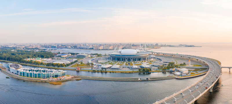 Aerial view from a height at the Zenit Arena stadium. Russia, Saint-Petersburg, 10 september 2019.
