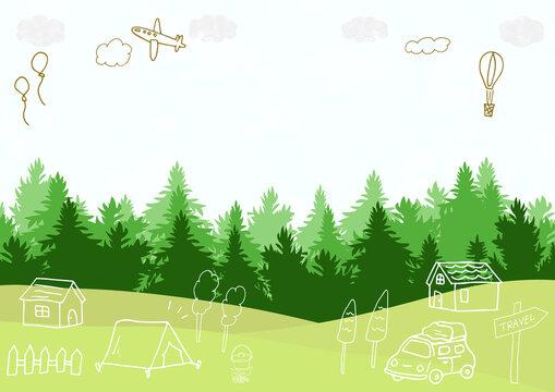 キャンプ場の風景と手がきのイラスト