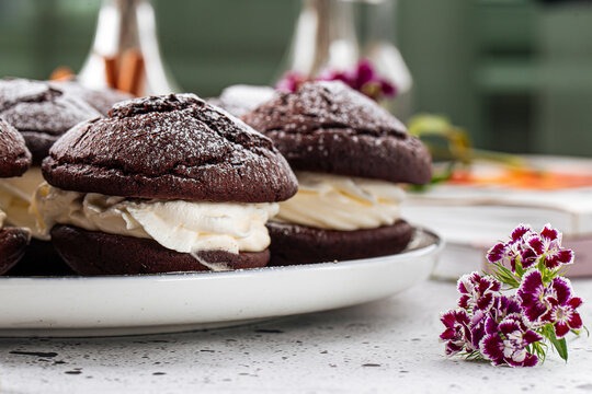 Fresh baked american chocolate whoopie pies with cream filling