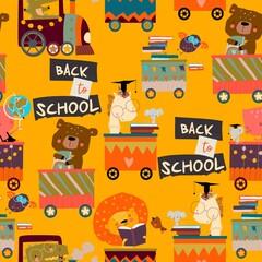 Obraz Seamless Pattern with Cartoon Animals riding to the School by Train - fototapety do salonu