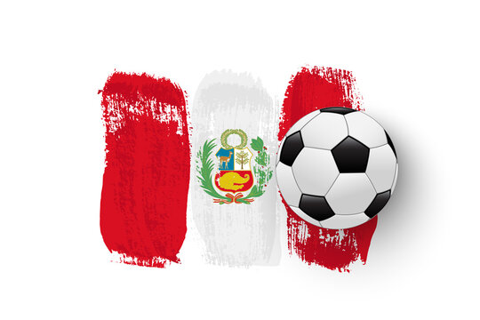 Realistic soccer ball on flag of Peru made of brush strokes. Vector football design element.