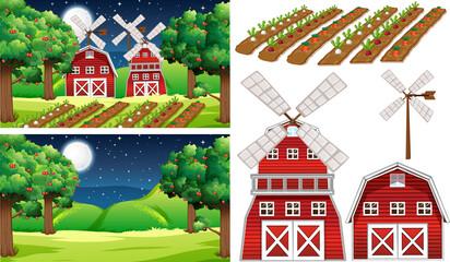 Farm element set isolated with farm scene