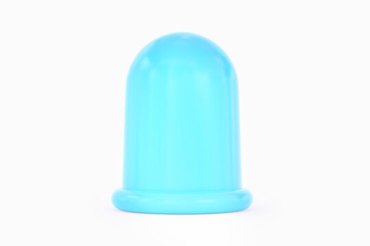 Silicone Anti-Cellulite Bubble massage tool. Blue massage anticellulite cup isolated on white background. 3D rendering. Front view.