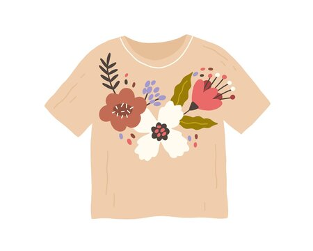 Trendy fashion clothes with handmade flower embroidery in retro style. Customized t-shirt with DIY pattern. Flat vector illustration of unique apparel with needlework isolated on white background