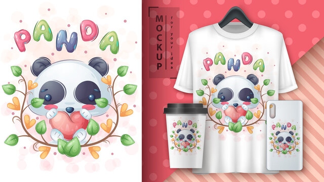 Panda with heart poster and merchandising.