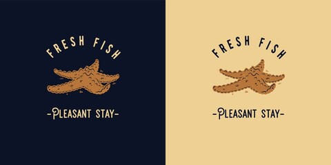 Summer print of starfish or logo of fresh fish. Surfing tropical for t-shirt design. Exotic food for surf tropic beach - fototapety na wymiar