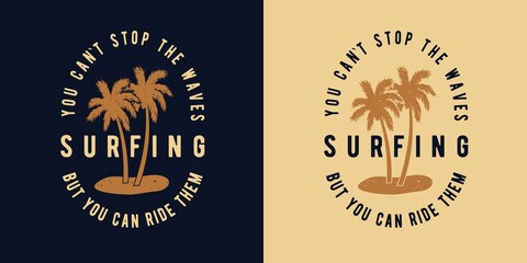 Surfing tropical hawaii palm for t-shirt print. Exotic summer plant for tropic surf design - fototapety na wymiar