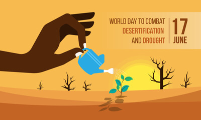 Obraz World Day to Combat Desertification and Drought banner with Hand holding a watering pot , watering the seedlings in dry areas and then hot deserts vector design - fototapety do salonu