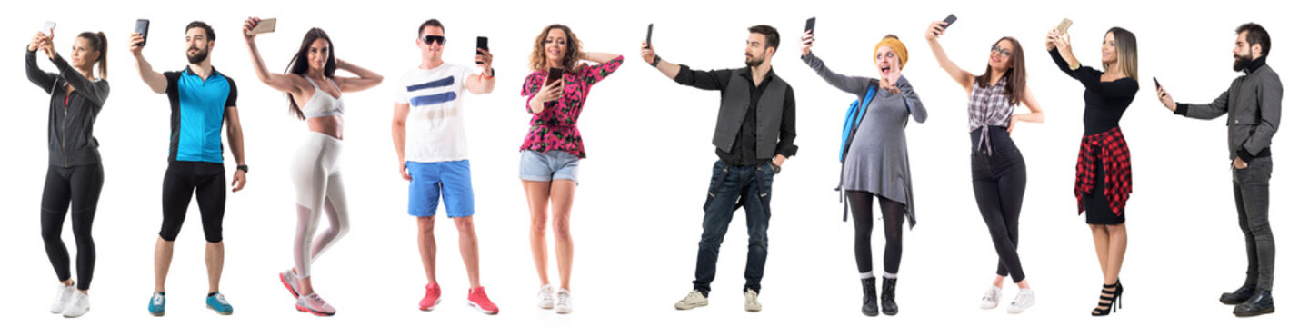 Group of active sporty and stylish hipster people taking selfies with cell phone full body isolated on white background.