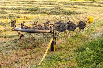 Fototapeta maszyna rolnicza roztrząsacz do siana  obraz