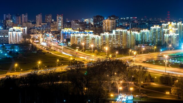 Night traffic of the city of Minsk, the capital of Belarus.