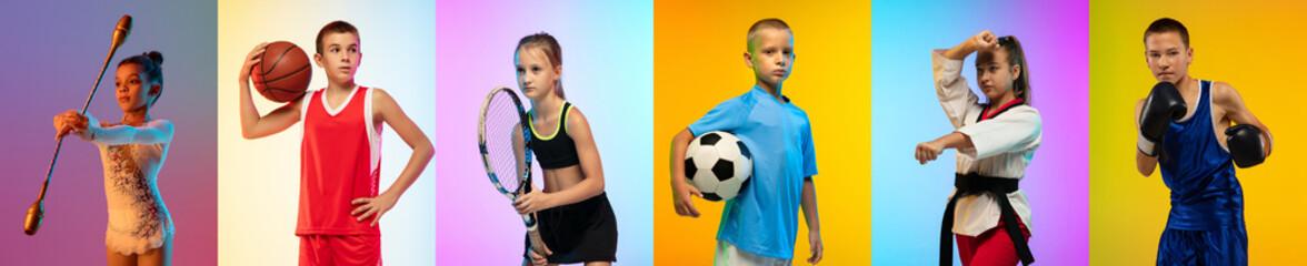Fototapeta Soccer football, basketball, taekwondo, boxing, gymnastics and tennis. Collage of different little sportsmen in action obraz