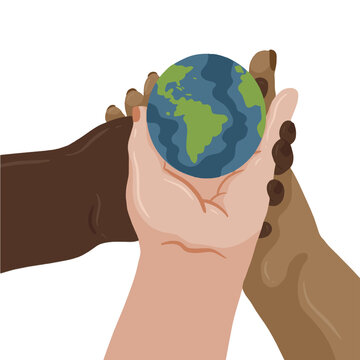 Three hands holding the world together