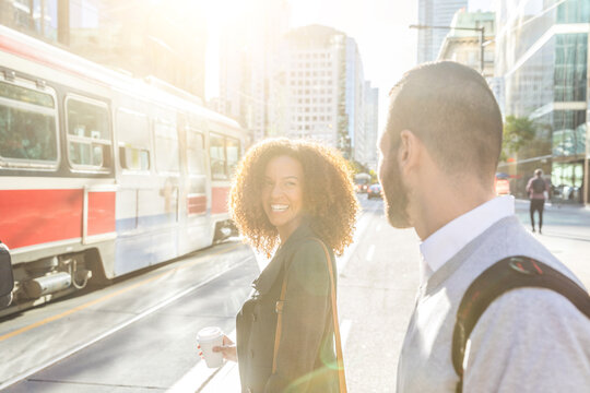 Commuters in the city of Toronto, business and travel