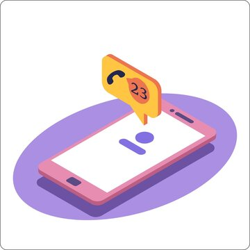 Phone mockup and miss call notification. Missed call notification. 3d isometric vector illustration.
