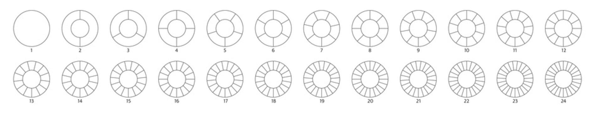 Wheel round diagram part big set. Segment slice sign. Circle section graph line art. Pie chart icon. 2,3,4,5,6 segment infographic. Five phase, six circular cycle. Geometric element. Vector