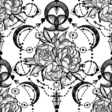 Vector illustration,  Alchemy, magical astrology, spirituality and occultism, Handmade, print on t-shirt, tattoo, light  background, seamless pattern