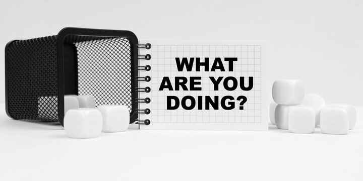 On the table are cubes, a small basket and a notebook with the inscription - WHAT ARE YOU DOING