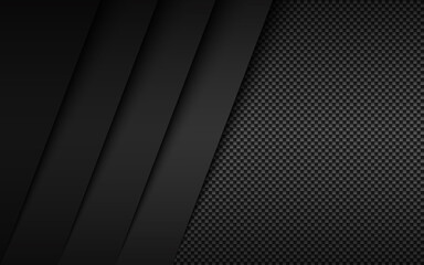 Obraz Black and grey modern material design with carbon fibre texture. Overlapped layers background. Vector abstract widescreen background - fototapety do salonu