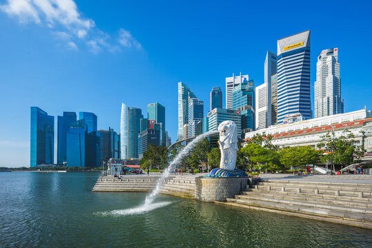 February 6, 2020: merlion and sands at merlion park in marina bay of singapore.  Merlion is the national symbol of Singapore  depicted as a mythical creature with a lion head and the body of a fish.