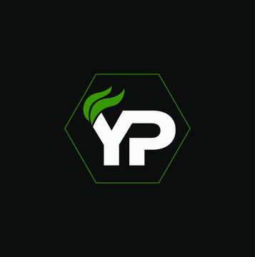 """""""YP"""" letters with green leaf. YP logo vector."""