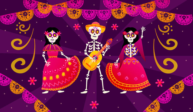 Day of the dead or dia de los muertos with dancing skeletons and playing the guitar, colourful paper garland for web banner, party invitation in mexican style, festival celebration