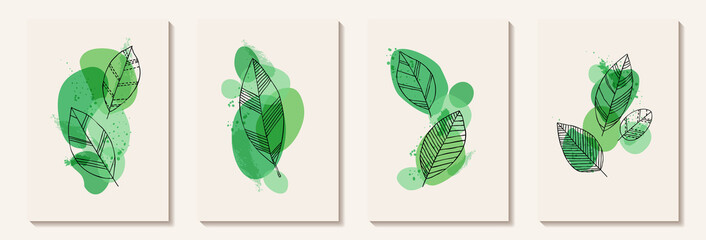 Botanical wall art vector set. Tropical Foliage line art drawing with abstract shape. Abstract Plant Art design for print, cover, wallpaper, Minimal and natural wall art decoration, poster, brochure