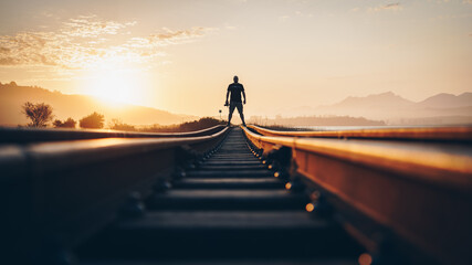 Silhouette of a person on a bridge at sunset 3