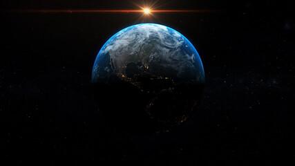Fototapeta sunrise over earth in space, summer solstice, america seen from space , 3d illustration obraz
