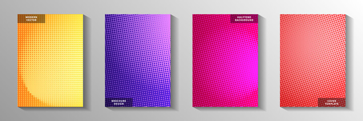 Obraz Creative circle screen tone gradation front page templates vector collection. Industrial magazine - fototapety do salonu