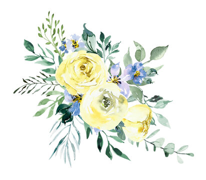 Watercolor yellow roses bouquet. Watercolor boho floral border.  Wedding template with pale yellow roses. Cards for baby shower, mothers day, birtday, bridal shower, wedding