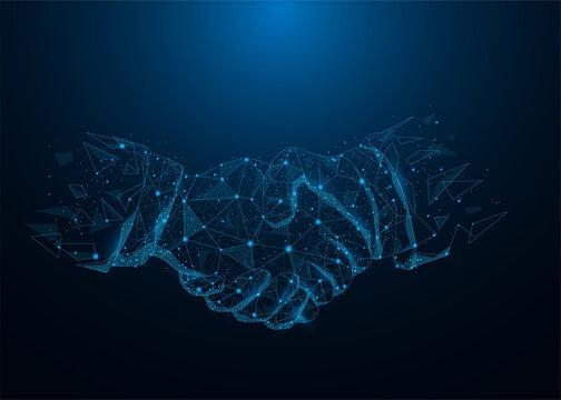 Business handshake lines low poly on blue dark blue background. Hands link internet digital connection. Business mission success concept. Vector illustration in flat design.