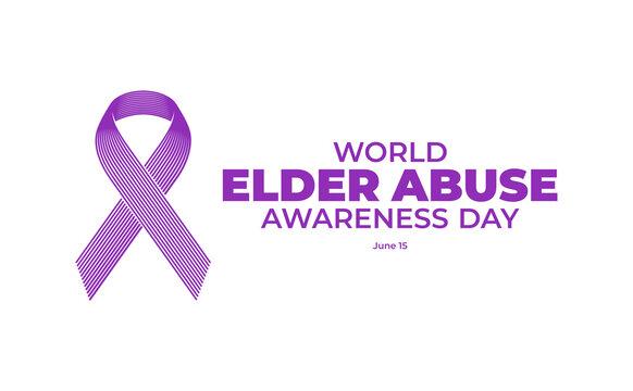 World Elder abuse awareness day with simple minimalist line art monoline style illustration.