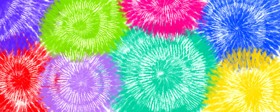 Abstract multicolored tie dye background. Digital banner.