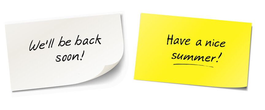 we'll be back soon and have a nice summer - sticky notes set