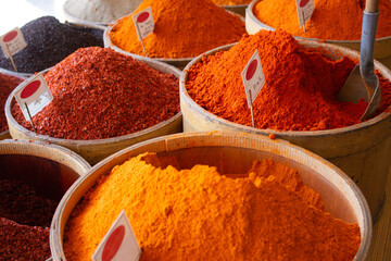 Turkish pepper and spices on display at a shop in Kayseri, Turkey.