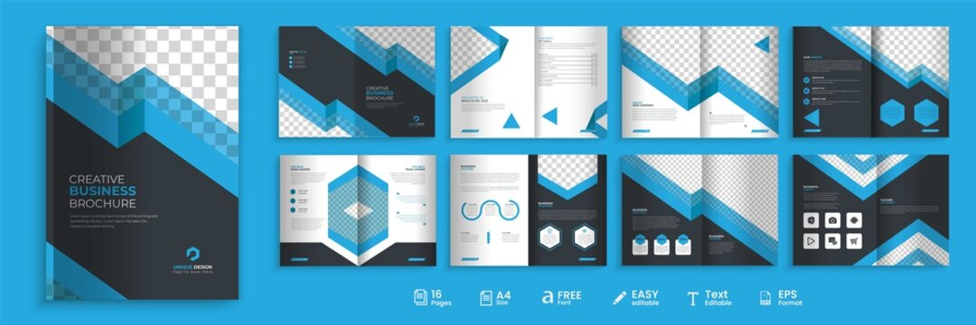 16 pages business brochure, modern blue and dark color combination bi-fold brochure template, fully editable brochure template design.